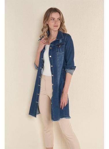 Z Giyim Kadın  Siyah  Eteği Püskülü Uzun Kot Ceket Mavi